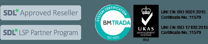 certificazioni uni en iso 9001 17100 sdl approved reseller lsp partner